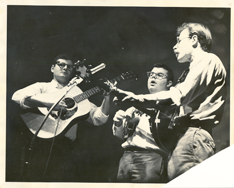 Hambly and Ross with Pete Berg subbing for Greg Lasser on banjo, at the Cabale, 1962.
